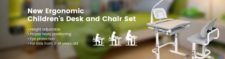 ergonomic children desk and chair set