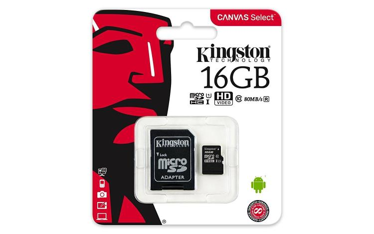 Buy Kingston 16GB MicroSDHC Class10 Card at PrimeCables.ca