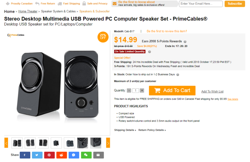 Primecables computer speaker deal for pre black friday