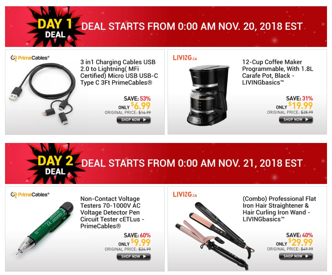 Black Friday Deal 2018 count down from PrimeCables