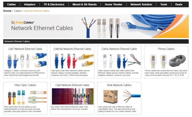 ethernet cable from PrimeCables