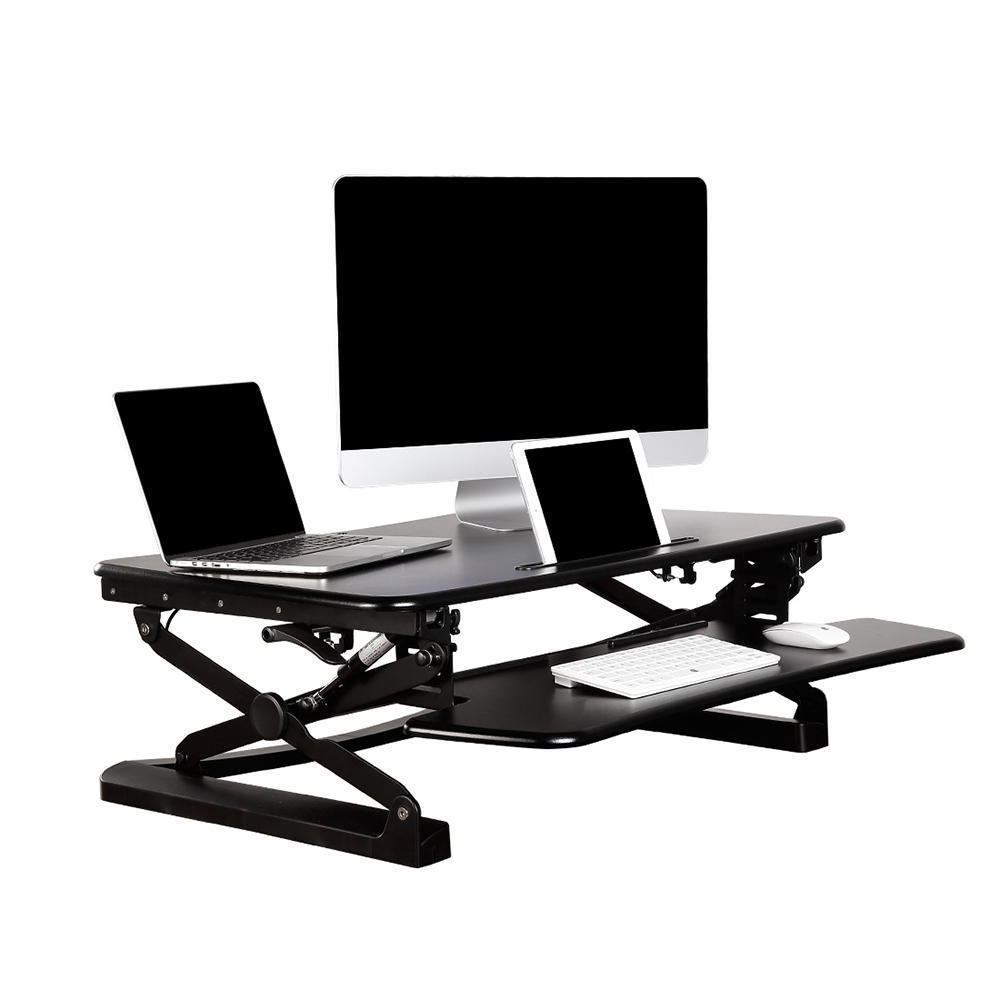 a black desk mount with a computer monitor, a laptop and a tablet on it